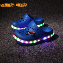 2016New Insole14-21cm Girls Boys LED Summer Beach Shoes EVA Anti-skid Croc Kids Slippers Kids Sneakers Casual 3Colors DTX06(China (Mainland))