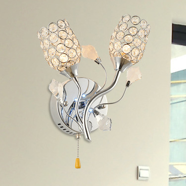 Simple and modern fashion crystal study wall lamp bedroom bedside arts segment LED pull switch led wall light crystal wall light(China (Mainland))