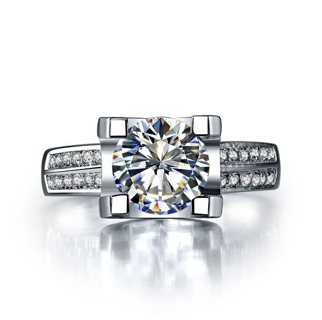 1Ct Solid 18K Gold Oxhead Style Splendent CHARLES&COLVARD Moissanite Anniversary Ring For Women Greatest Design Last Forever(China (Mainland))