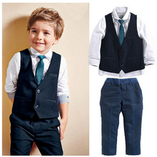 Buy 2016 New Baby Boys Clothing Sets Long Sleeve Autumn Kids Clothes Sets 4 pcs shirt + pants + vest + tie Children Boy Formal Suit for $15.26 in AliExpress store