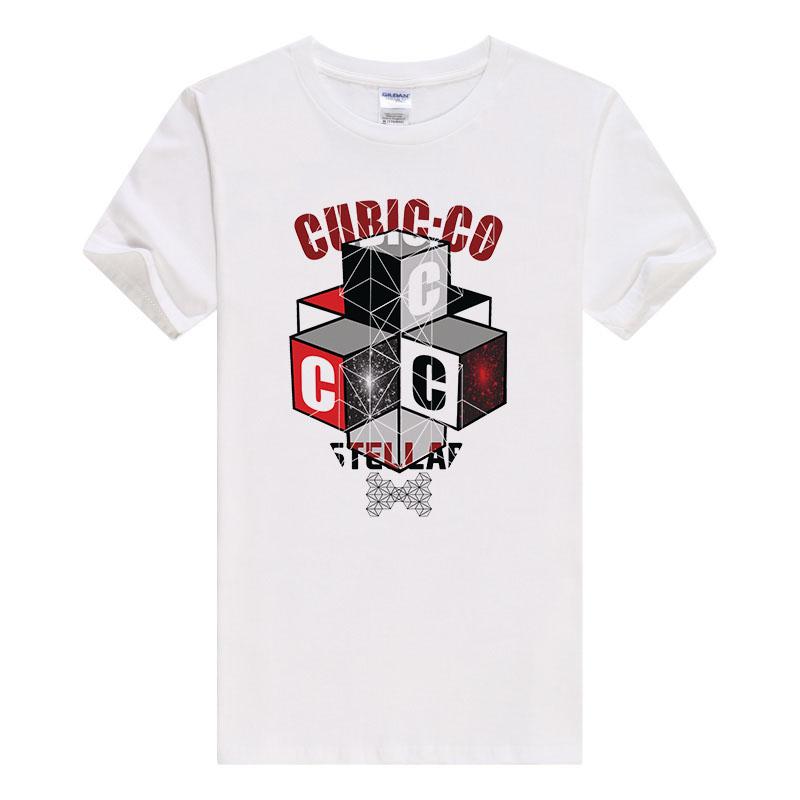 Mens t shirts fashion 2017 the cubic Printed Hipster Tees Knitted O-Neck short sleeves Cotton Casual tshirt hot sell B474(China (Mainland))