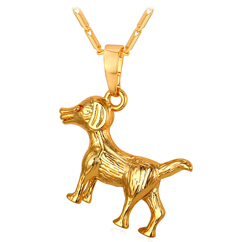Cute Dog Pendant Necklace Women Man Jewelry '18K' Stamp Real Gold/Platinum Plated Necklace 2016 Charms Unisex Jewelry P296(China (Mainland))