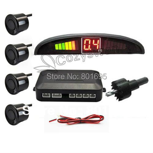 Gift retail packag 4 Sensors Car Parking Assistance System 12v LED Display Indicator Alarm Car Reversing Sensors Free Fedex