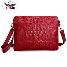 Genuine Leather Women Shoulder Bags Noble Cowhide Lady Messenger Bags Crocodile Crossbody Bag Vintage Clutch Bolsas Feminina S26