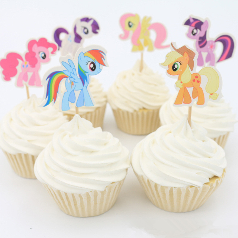 24pcs My little pony Cupcake Topper Picks for wedding decoration baby shower kids birthday party favor cake decoration(China (Mainland))