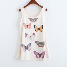 Summer Vest Fashion Plus size High quality harajuku Sleeveless T shirt Women butterfly print Tank Tops Blusas sem mangas(China (Mainland))