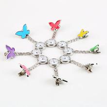 Nueva púrpura colgante encantadora linda de la mariposa enfermera del reloj del Dial redondo de bolsillo colgante Clip de Pin Lady regalo del partido de aleación de Zinc