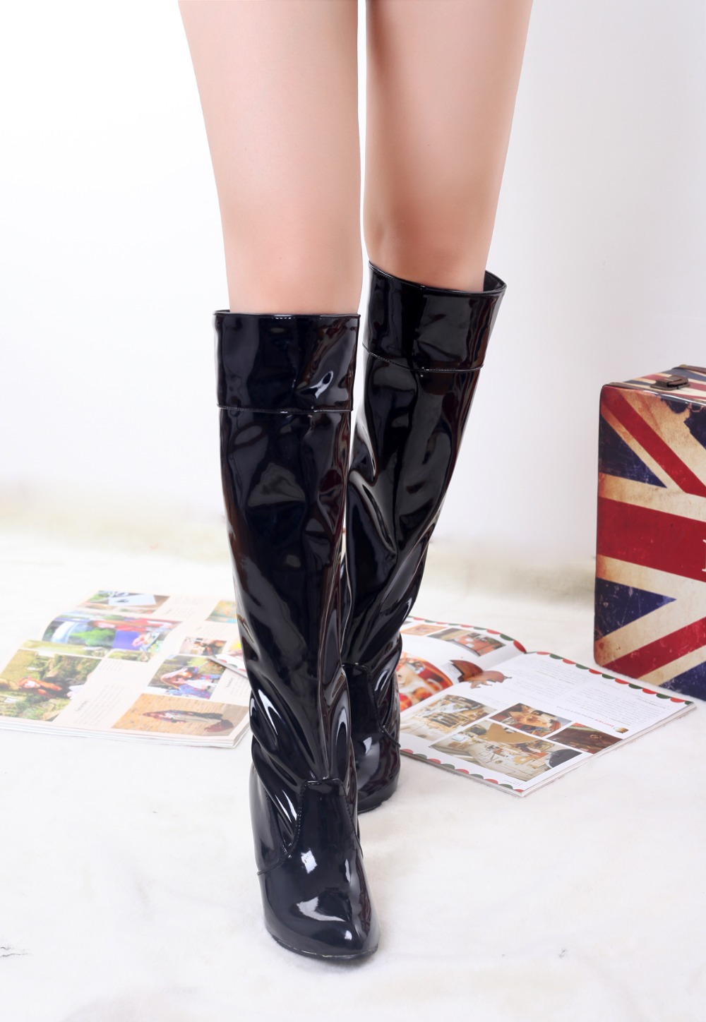 2015 winter Autumn New Slip-On Knee Boots Women Solid Colors Spike Heels Fashion Comfortable Knee Boots Big size 34-45 R1340