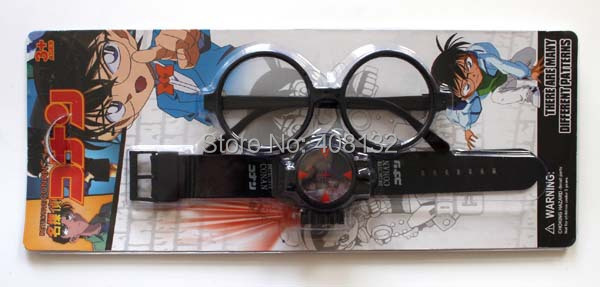 Wholesale!EMS FREE.NEW,Anime Detective Conan Infrared Glass Red Light Laser Analog Boy Wrist Watch With Glasses 60sets(China (Mainland))