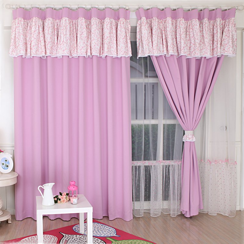 pink princess bedroom curtain with flower valance customized curtain