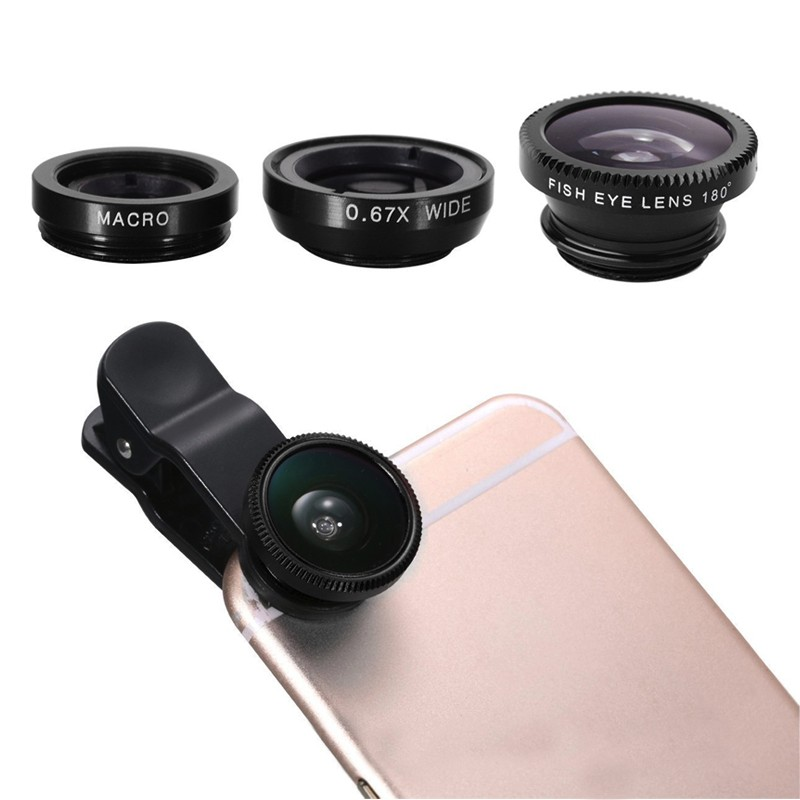 Fish eye universal 3 in 1 mobile phone chip lenses fisheye wide angle macro camera for 7 iphone 6 6s plus 5s 5 HTC samsung S6 S5