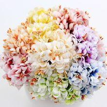 6 pz gradiente di seta stame handmake fiore artificiale bouquet decorazione di cerimonia nuziale corona fai da te regalo scrapbooking del mestiere fiore falso(China (Mainland))