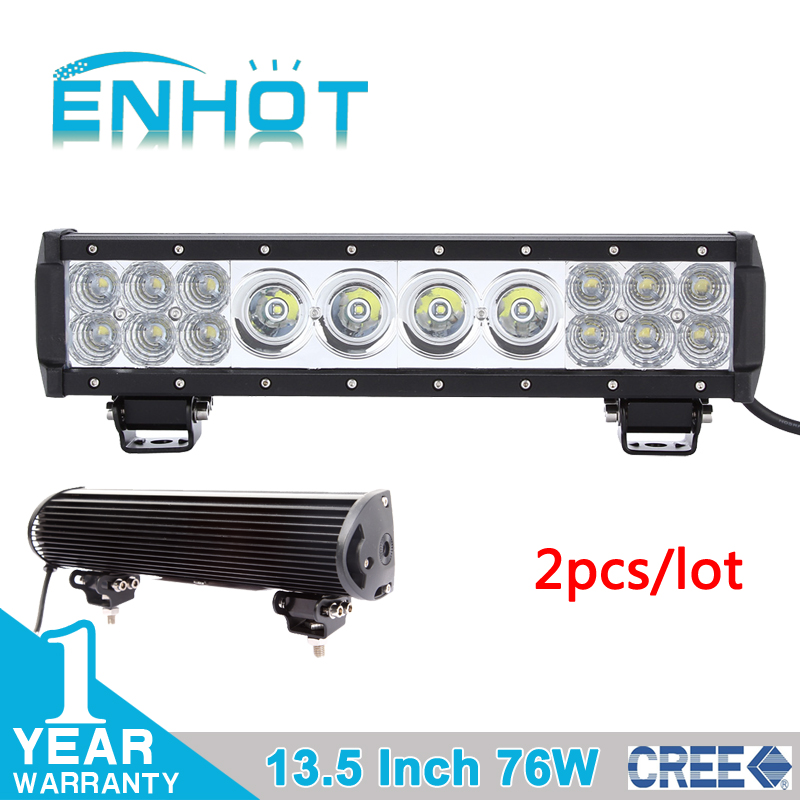 2pcs 13.5'' 76W CREE 10w+3w led work Light Bar Off road Boat ATV SUV Driving Fog light mixed combo beam for jeep truck tractor(China (Mainland))