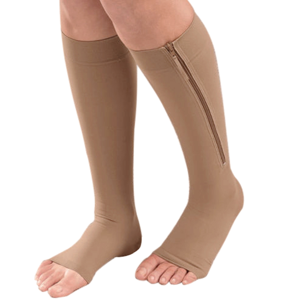 US Ship Zipper Compression Leg Supports Knee Socks Compression Sock Ultrathin Breathable Open Toe Compression Sleeve Women Socks(China (Mainland))