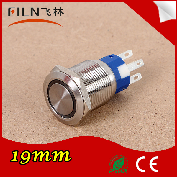 Diameter 19mm 12v LED anti-vandal stainless steel momentary push button switch IP67<br><br>Aliexpress