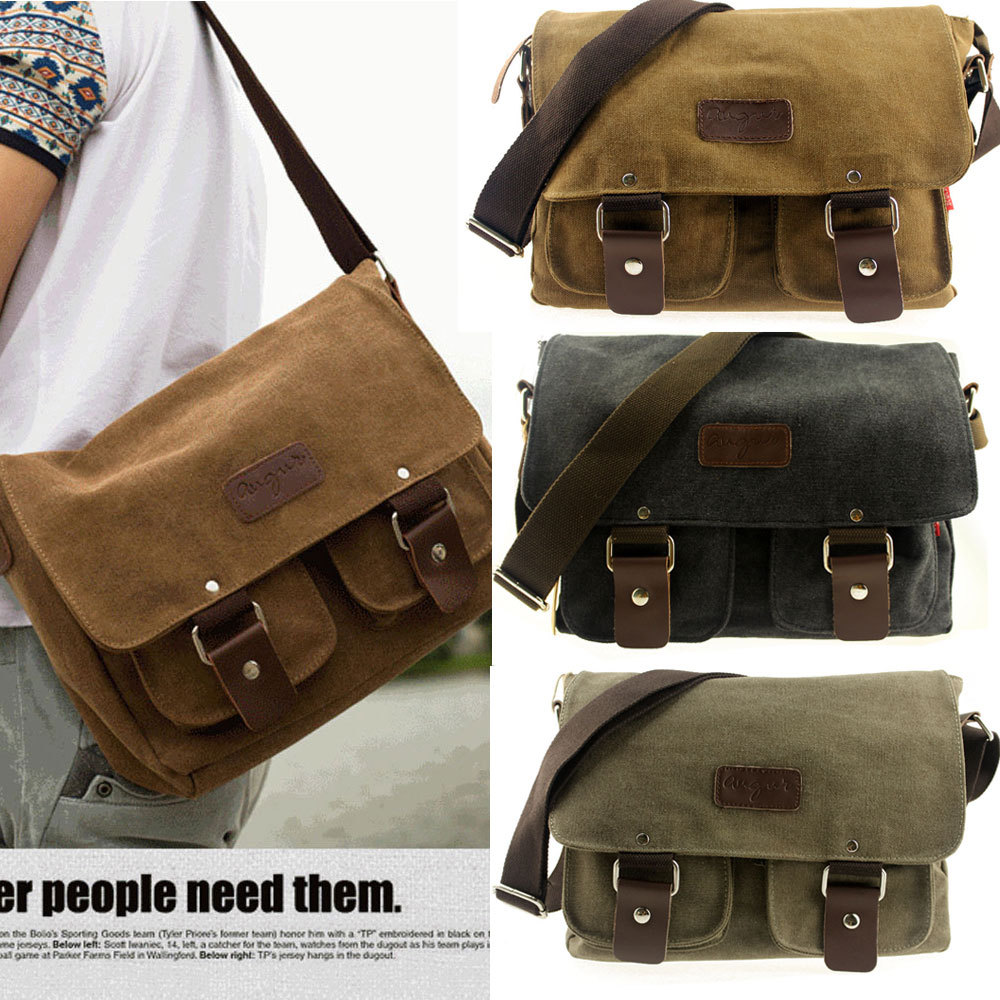 New Designer Men Vintage Canvas Bag Shoulder Bag Messenger Travel School Briefcase Bags Free Shipping(China (Mainland))