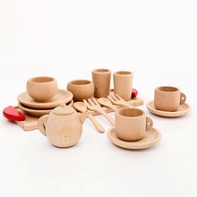 Wooden Montessori toy Baby Toys Baby Gift Set natural wooden cutlery  Montessori Inspired Toddler Gift Pretend Play Kitchen Toy(China (Mainland))
