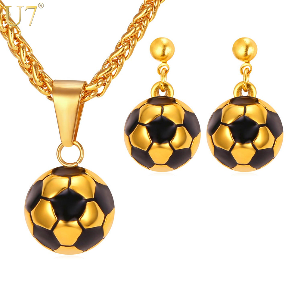 U7 New Soccer Ball Necklace Set For Women Trendy Stainless Steel Pendant  Necklace Earrings Dubai Gold Plated Jewelry Sets S870