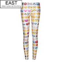 East Knitting Free Shipping F176 2015 Women's Emoji Jogger Leggings Exercise Pants Casual Hip Hop Funny Plus Size Sweatpants