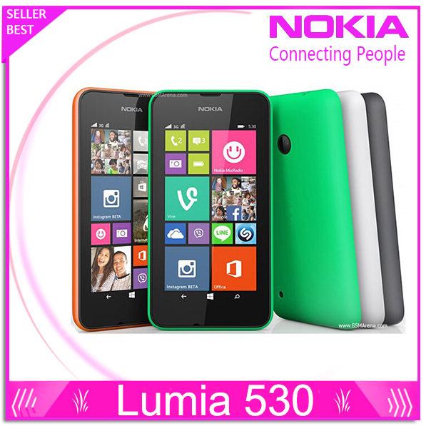 "Nokia Lumia 530 Original Windows Phone 8.1 Phone 4.0"" Touch Screen Quad Core Dual SIM 4GB ROM 5MP Camera 3G WCDMA Wifi GPS(China (Mainland))"