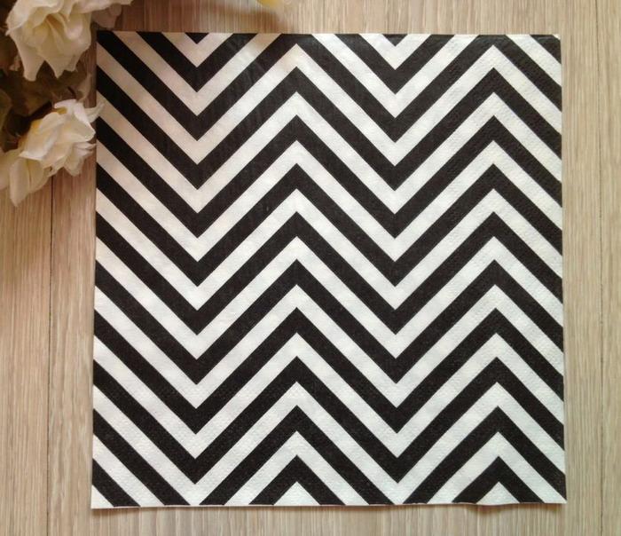 20pcs Black Chevron Striped Napkin Paper For Wedding Party Decoration(China (Mainland))