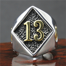 316L Stainless Steel Silver Biker 13 Ring Mens Motorcycle Biker Band Party Mens Ring(China (Mainland))