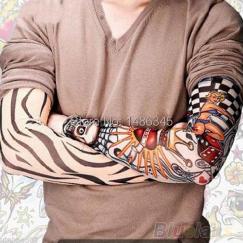 Free Shipping 2015 New Fashion Punk 2Pcs Men Women Tamporary Charm UV Arm Sleeves Skull Theme Fake Tattoo Arm Warmers Basketball(China (Mainland))