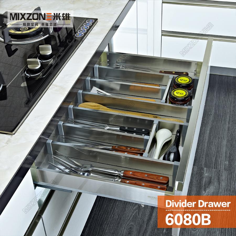 Flatware kitchen drawer organizer with adjustable dividers