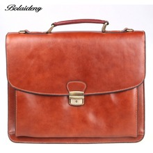 Bolaideng New Classic Men's Genuine Leather Briefcase Business Office Laptop Brown Bag Lawyer Handbag BF52712-3BR(China (Mainland))