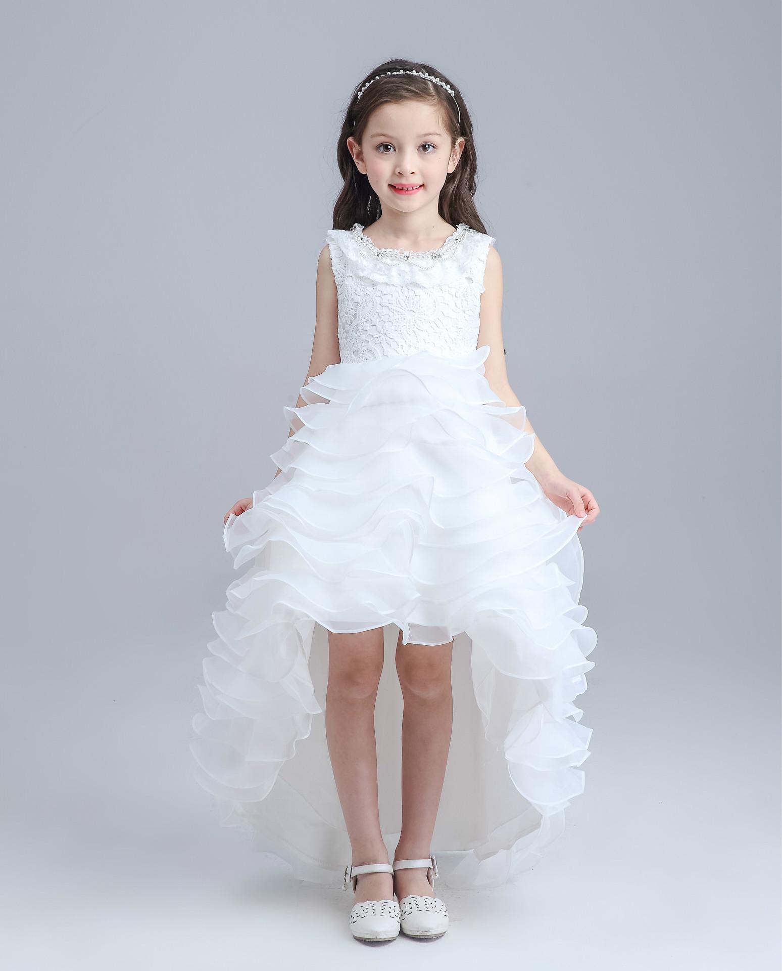 Teenage Long Tailed Girls Summer Dress Kids Girls Red White Wedding ...