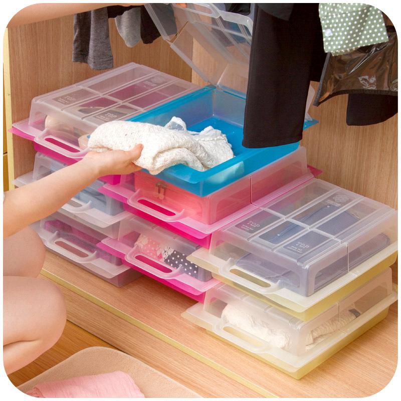 Home & Garden multipurpose drawer storage box transparent plastic shoe storage box random combination of shoebox(China (Mainland))