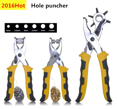 high quality 3pcs/set punch plier Duty Leather Hole Punch Belt Holes Punches Hand Pliers with 200pcs grommet setting tool kits(China (Mainland))