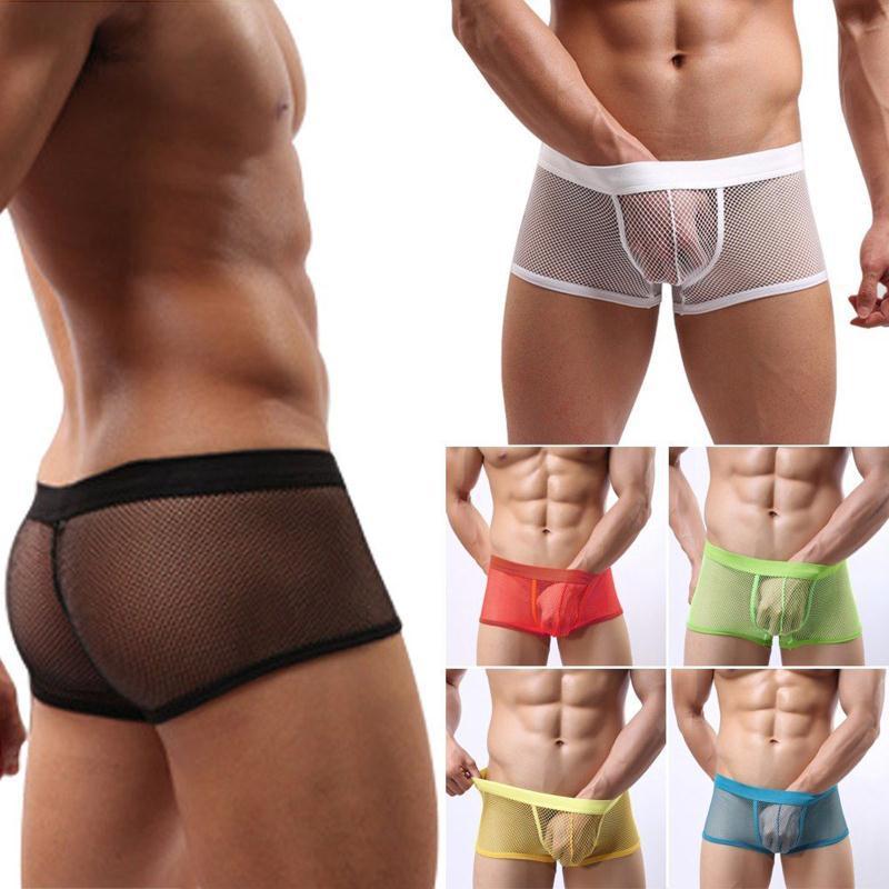Fashion Mens Sexy Mesh Boxers Gauze Sheer Lace Shorts Fashion Sexy See Through Mesh Boxers Shorts Underpants Underwear(China (Mainland))