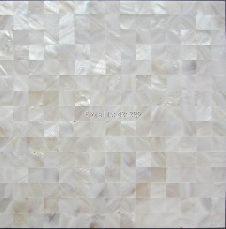 Hyrx Shell Mosaic Natural White Color Mother Of Pearl Tiles Flat