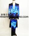 S 5XL 2016 Men s fashion slim DJ singer GD Bigbang blue red fire suit stage