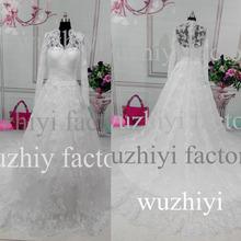 vestidos de noivas 2015 Real Photo Lace Applique A-line Tailored Long Sleeve Wedding Dress Lace vestidos de noiva 2015 SW5-7W(China (Mainland))
