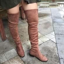 Flach Oberschenkel Hohe Stiefel Winter Frauen Über das Knie Stiefel Komfort Wildleder Damen Lange Stiefel Frau Schuhe Grau Wein Schwarz stiefel 2019(China)