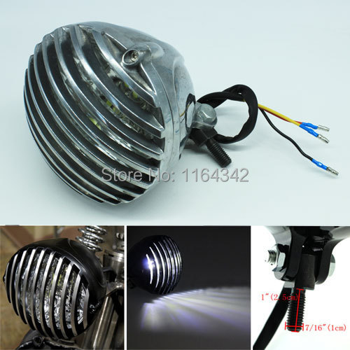 5 Round Scalloped Finned Grille Bullet LED Headlight For TRI XS650 Harley Bobber Chopper Silver<br><br>Aliexpress