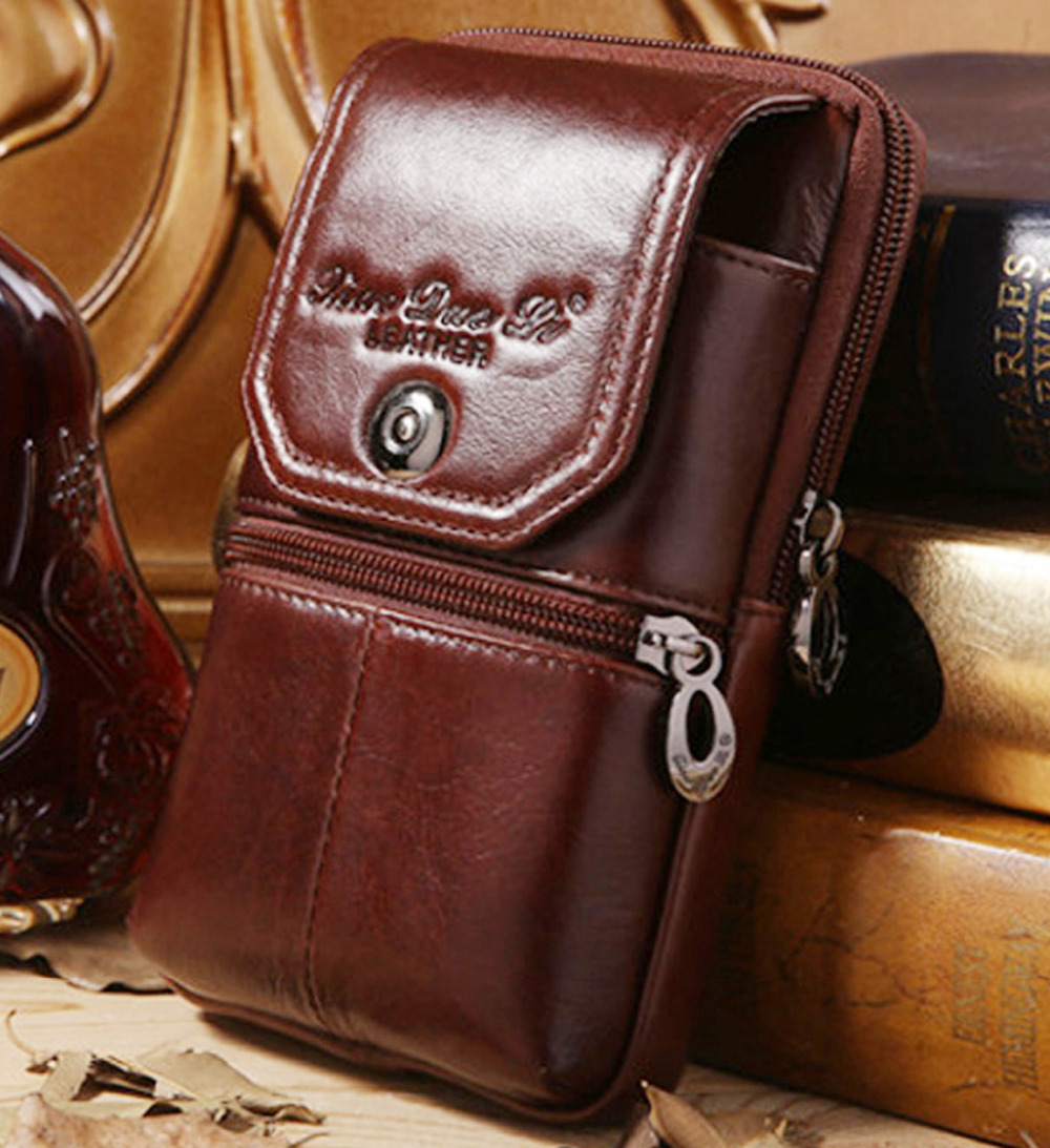 Men Genuine Leather Cowhide Cell Mobile/Phone Case Cover Skin Vintage Belt Hip Fanny Bag Waist Pack Purse Father Christmas Gift<br><br>Aliexpress