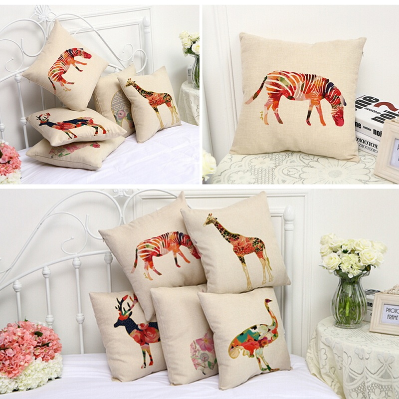 New Arrival Cute Cartoon Giraffe Elephant Designs Home Car Linen Cotton Cushion Cover 45x45CM Washable Throw Pillow Case(China (Mainland))