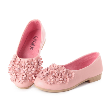 2015 Spring Hot sale Child Leather Gommini Loafers Small flower Shoes Princess Single Baby Children shoes