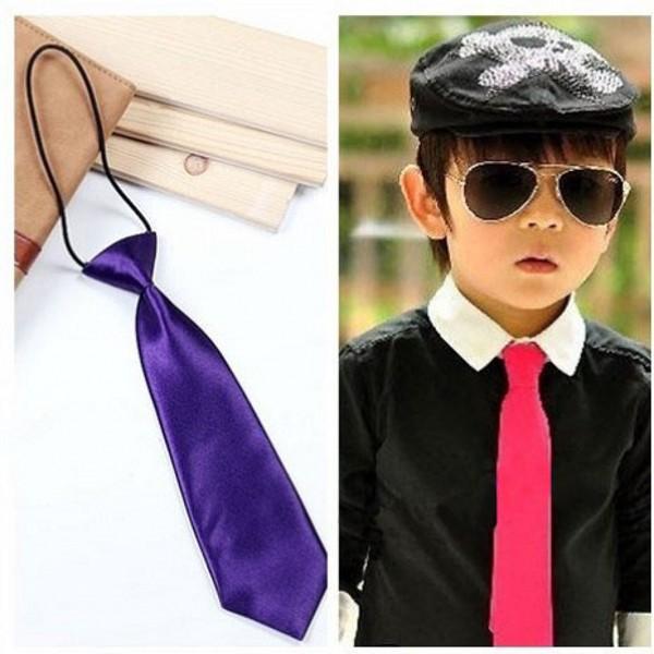Cool Boys Girls Kids Children School Tuxedo Satin Elastic Neck Tie Ties Wedding Prom Clip On Hot(China (Mainland))
