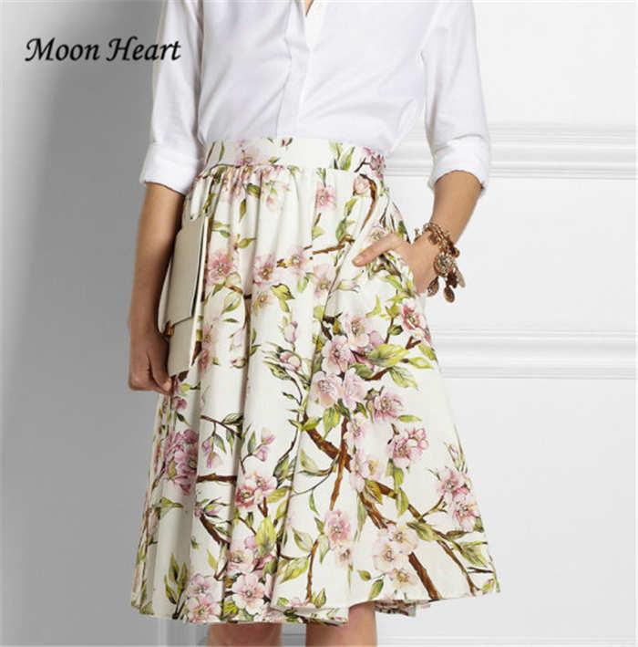 Women Sakura Floral Print Elastic High Waist Pleated Long Midi Skater Skirt 4 Colors White/Green/Black/Yellow 2015 Spring New - Moon Heart store