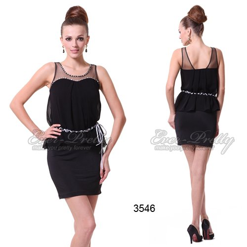 HE03546BK Rhinestones Ruffles Round Neck Fashion Black Cocktail Dress(China (Mainland))