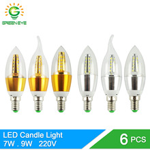 Buy GreenEye 6Pcs E14 LED Candle Bulb Light 7w 9w Aluminum LED Lamp 220V Golden Silver Cool Warm White Ampoule Lampara Vintage Retro for $6.49 in AliExpress store