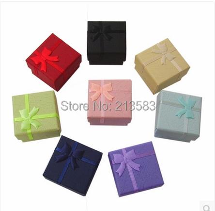 Wholesale 48pcs/lot Fashion Jewelry Box, Multi colors Rings Box,Earrings/Pendant  Box 4*4*3 Display Packaging Gift Box(China (Mainland))