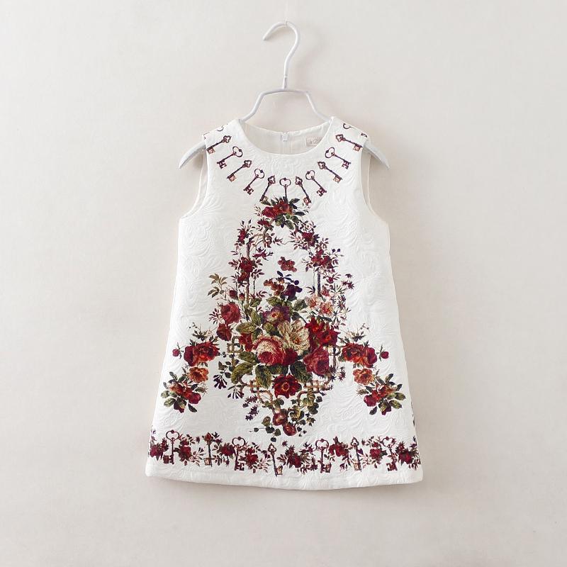 2017 Baby Girl Tank Dress Jacquard Floral Vintage Floral Dress Kids Summer Children Clothing Estidos Infantis 7002(China (Mainland))