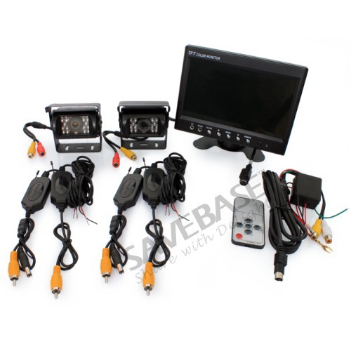 "HOMSECUR Wireless 12V Reverse CCD Camera 7"" Rear View Monitor Horse Caravan Backup Kit(China (Mainland))"