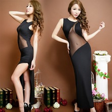 Buy Cheap Evening Party Clothes Clothing Women Black Split Sexy Mesh Long Dress Summer Sleeveless Slit Ladies Prom Hot Dresses for $12.71 in AliExpress store