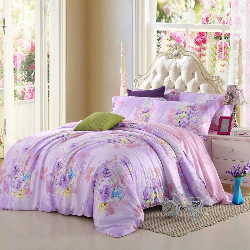 Light Purple Lilac Bedding Set Floral Queen King Size